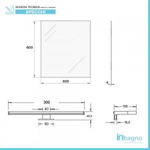 Misure Specchio a LED reversibile 60x80 cm