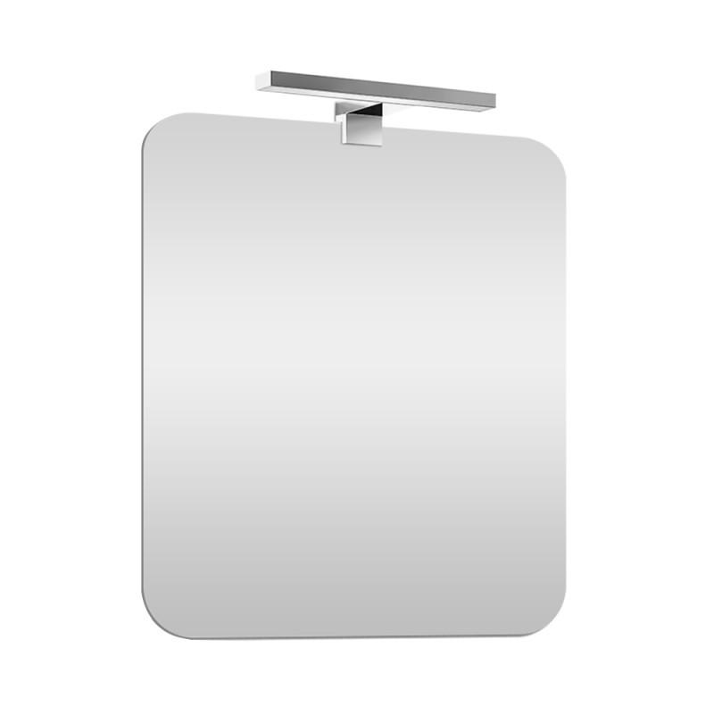 Specchio a LED Reversibile 70x90 cm con Angoli Stondati con Lampada