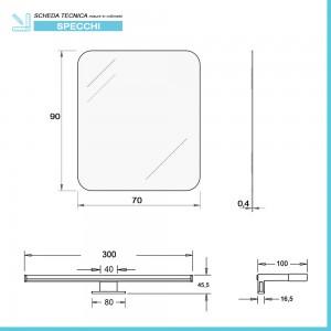 Misure Specchio a LED Reversibile 70x90 cm con Angoli Stondati con Lampada