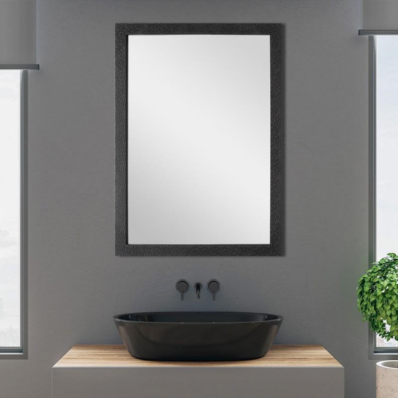 Specchio dalla Cornice in Mosaico Nero 60x80 cm Reversibile