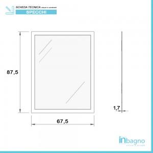 misure Specchio dalla Cornice in Mosaico Nero 60x80 cm Reversibile