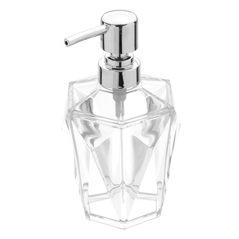 Dispenser Sapone Bianco Trasparente Forma a Diamante