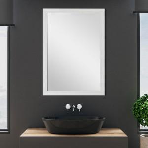 Specchio Con Cornice in Mosaico Reversibile 60x80 cm Bianco