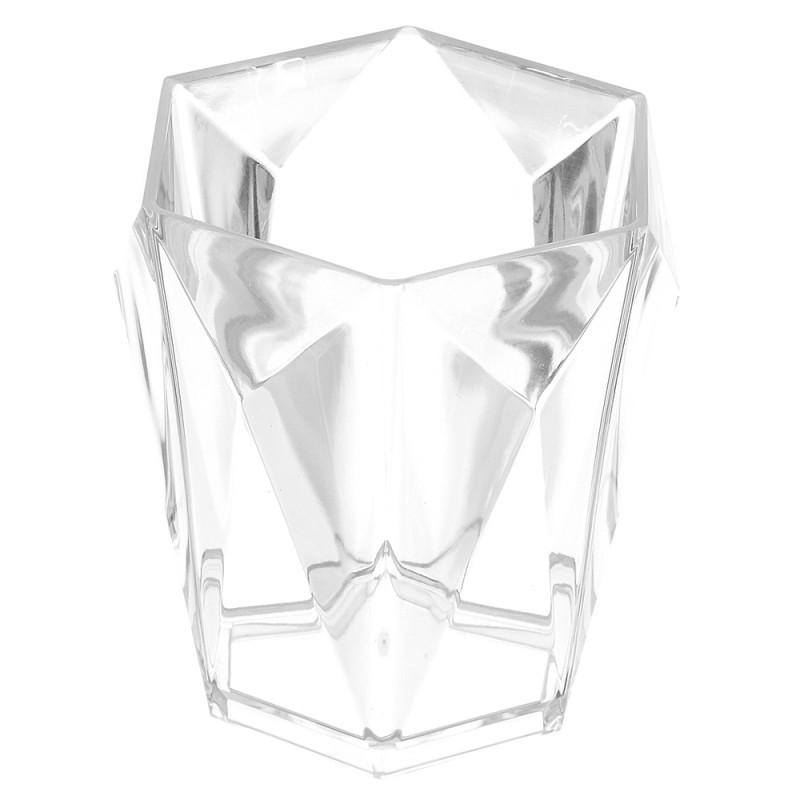 Portaspazzolino Bianco Trasparente In Plastica Forma di Diamante