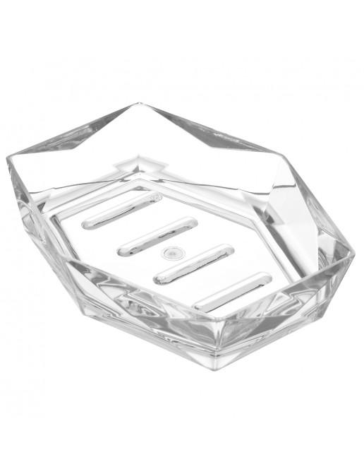 Porta Sapone Bianco Trasparente In Plastica Forma di Diamante