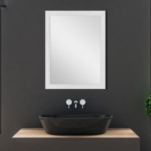 Specchio con Cornice Bianca Mosaico 50x60 cm Reversibile