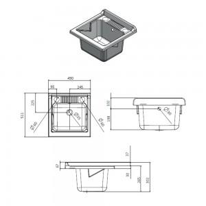 scheda Vasca per Lavatoio in PP 50 x 50 cm Bianco + kit di scarico e piletta