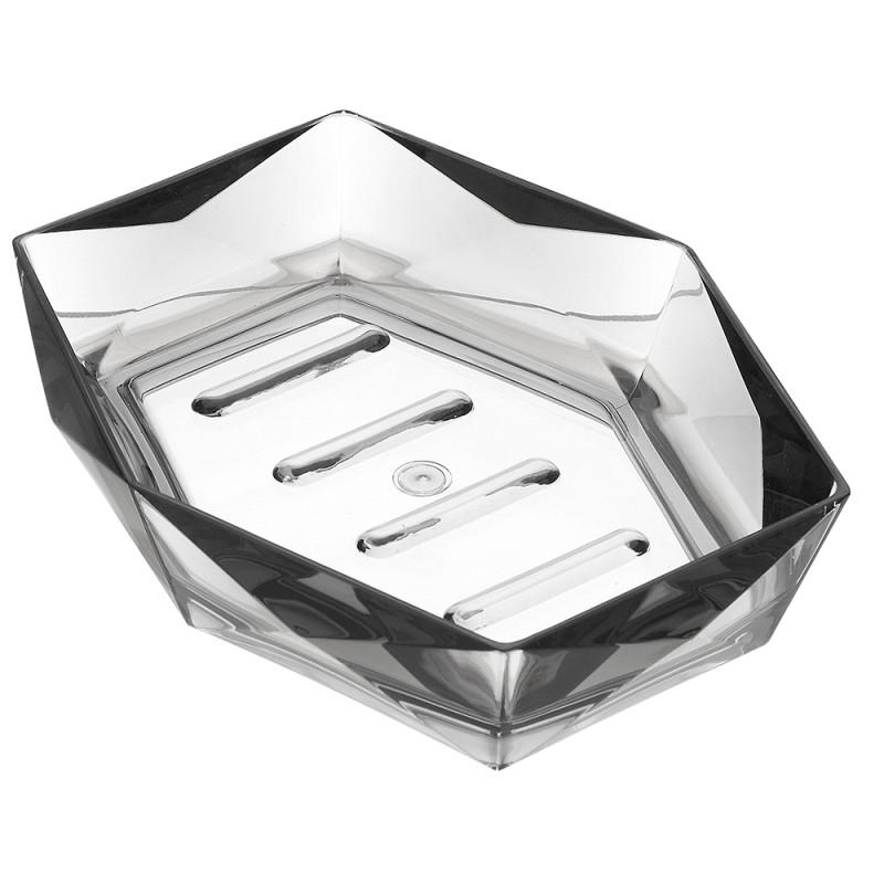 Porta Sapone Grigio Trasparente In Plastica Forma Di Diamante