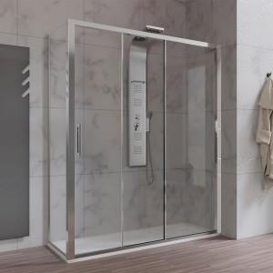 Box doccia 70x170 cm 3 Ante Scorrevoli vetro 6 mm per trasformazione vasca in box doccia
