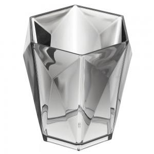 Portaspazzolino Grigio Trasparente In Plastica Forma Di Diamante