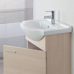 Mobile Bagno sospeso in legno Larice con Lavabo e Specchio L.56