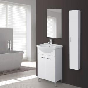 Mobile Bagno in Legno Bianco Lucido 2 Ante Lavabo e Specchio Incluso L.56 cm Feridras - 5