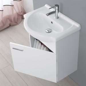 Mobile Bagno Sospeso In Legno Bianco con Lavabo E Specchio L.56 Feridras - 4