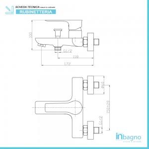 Miscelatore per Vasca con Duplex e Doccetta Cromo Feridras - 2