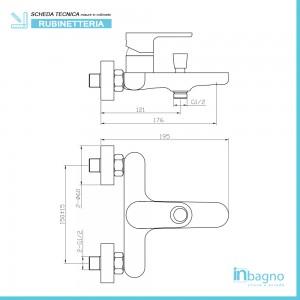Miscelatore Cromato per Vasca Monocomando con Duplex e Doccetta Feridras - 2