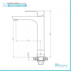 Miscelatore Lavabo Alto Monocomando con Piletta Clic/Clac Feridras - 2