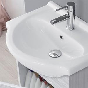 Mobile Bagno Sospeso In Legno Grigio Con Lavabo 3 Specchio L.51 cm Feridras - 5