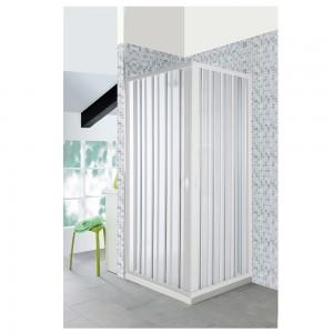 Box Doccia a Soffietto 90x90 cm in PVC Riducibile con Apertura Centrale