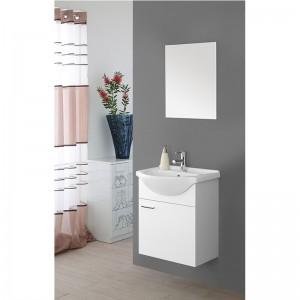 Mobile Bagno Sospeso 52x44 Lavabo e Specchio Bianco 1 Anta Stella