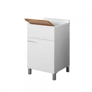 Lavatoio 50x50 con Tavoletta Bamboo Piletta e Sifone Bianco Mondo