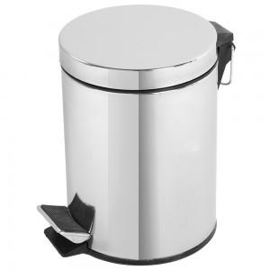 Pattumiera tonda acciaio cromato moderna automatica capacità 5 litri